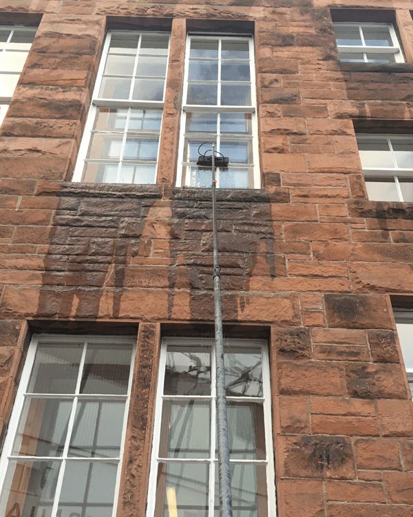 High window being cleaned by JJ Window Cleaning Edinburgh